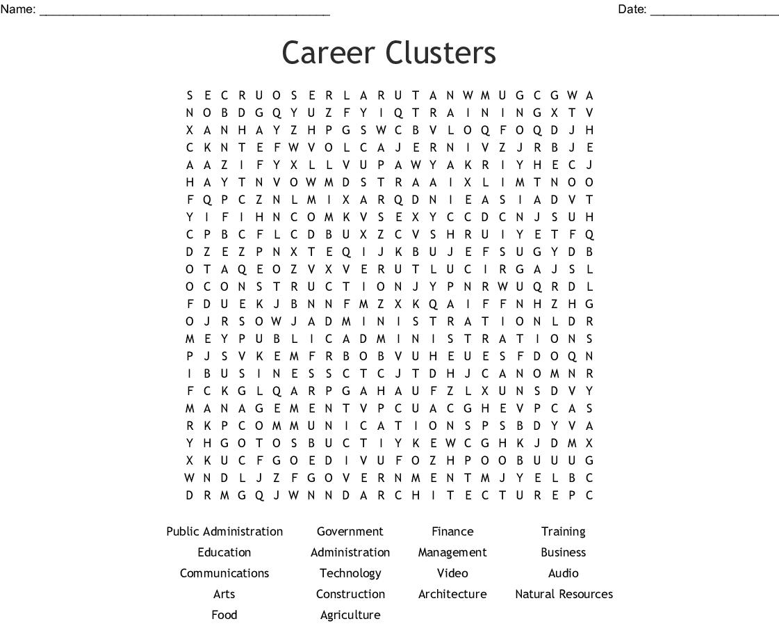 Career Clusters Word Search Wordmint