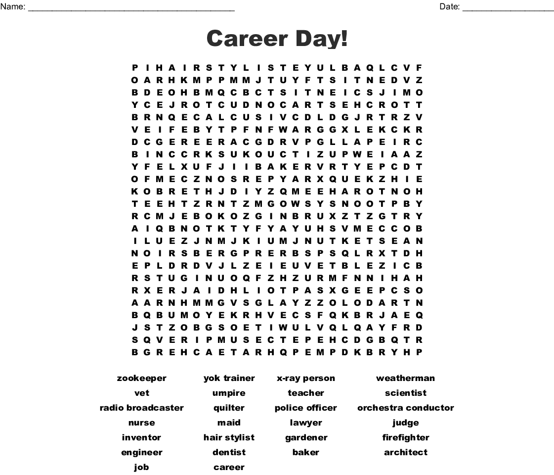 Career Day Word Search Wordmint