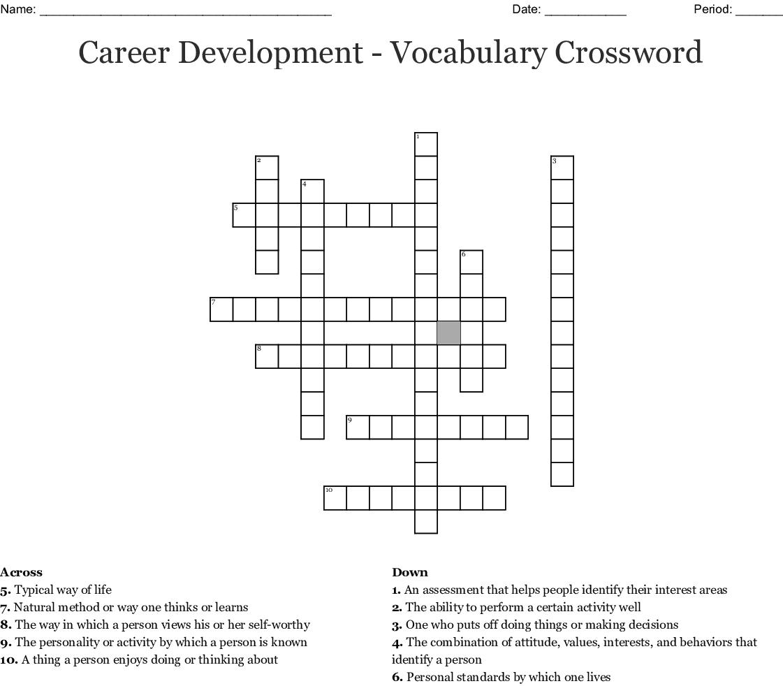 Grade 8 Life Orientation Revision Crossword Wordmint