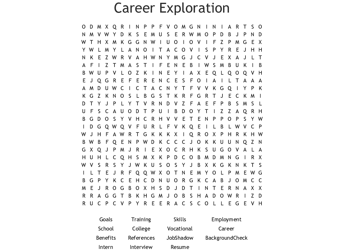 Career Exploration Word Search - WordMint