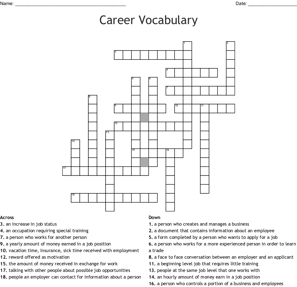 Employment Word Search Wordmint