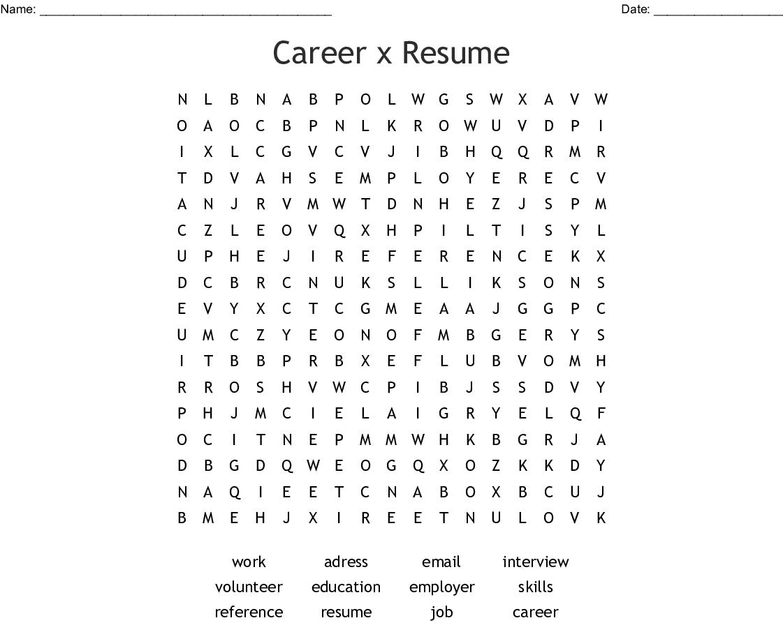 Career X Resume Word Search Wordmint