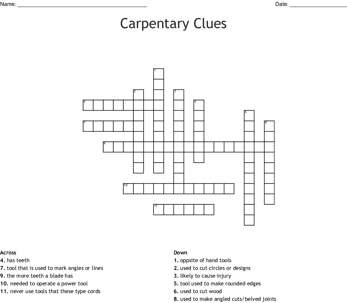 Carpentary Clues Crossword Wordmint