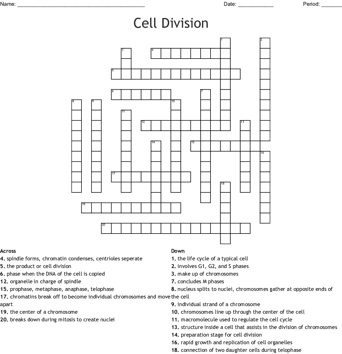 Cell Cycle and Mitosis Crossword - WordMint