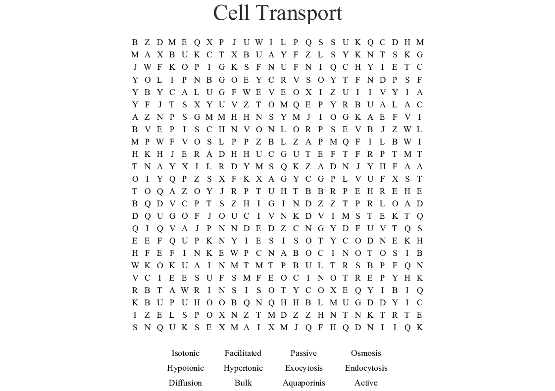 Homeostasis And Cell Transport Worksheet Answers ...