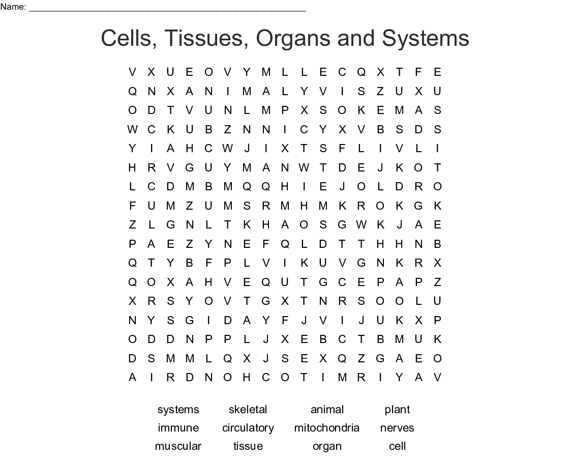 Cells Tissues Organs And Systems Word Search Wordmint