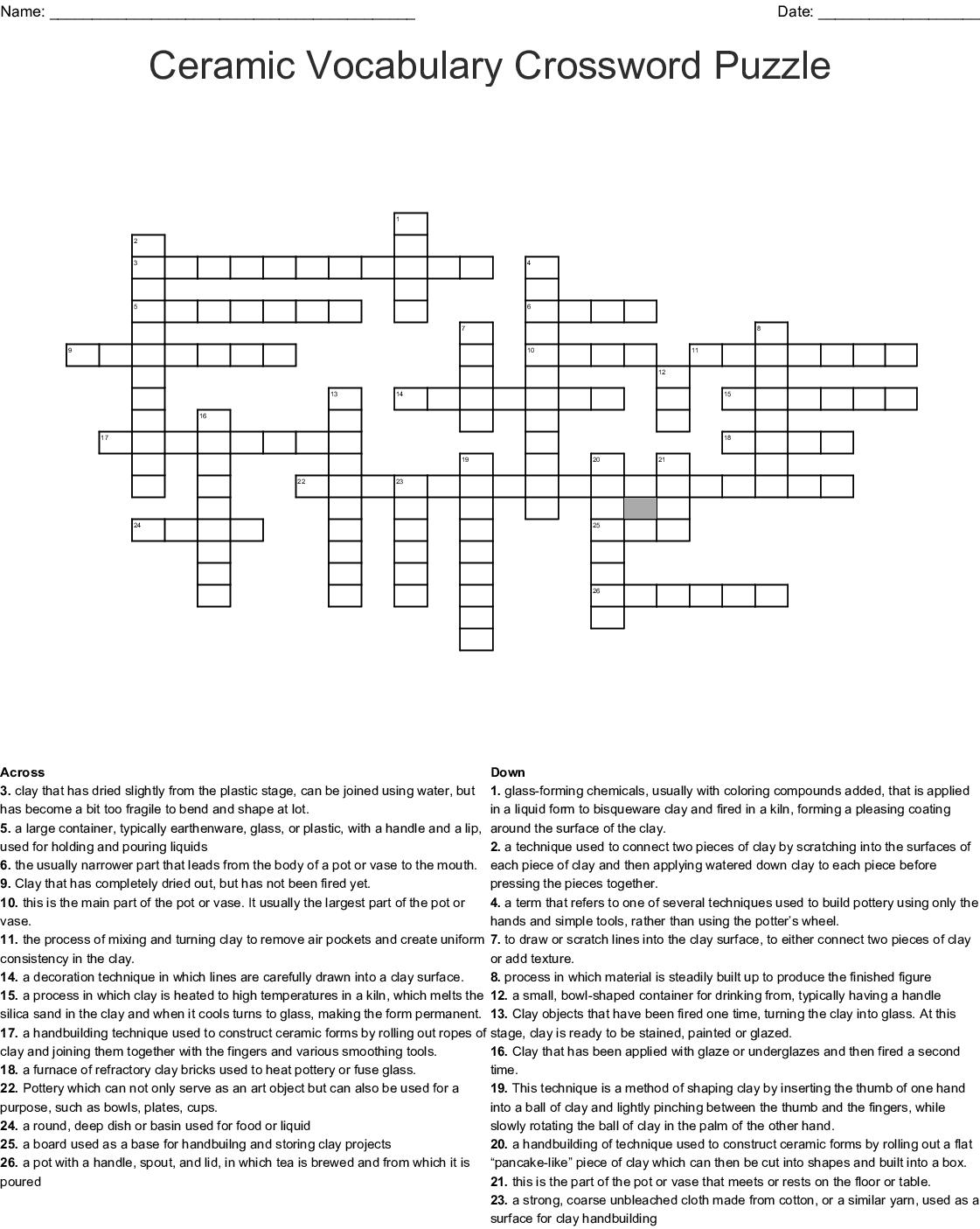 Ceramic Vocabulary Crossword Puzzle Wordmint