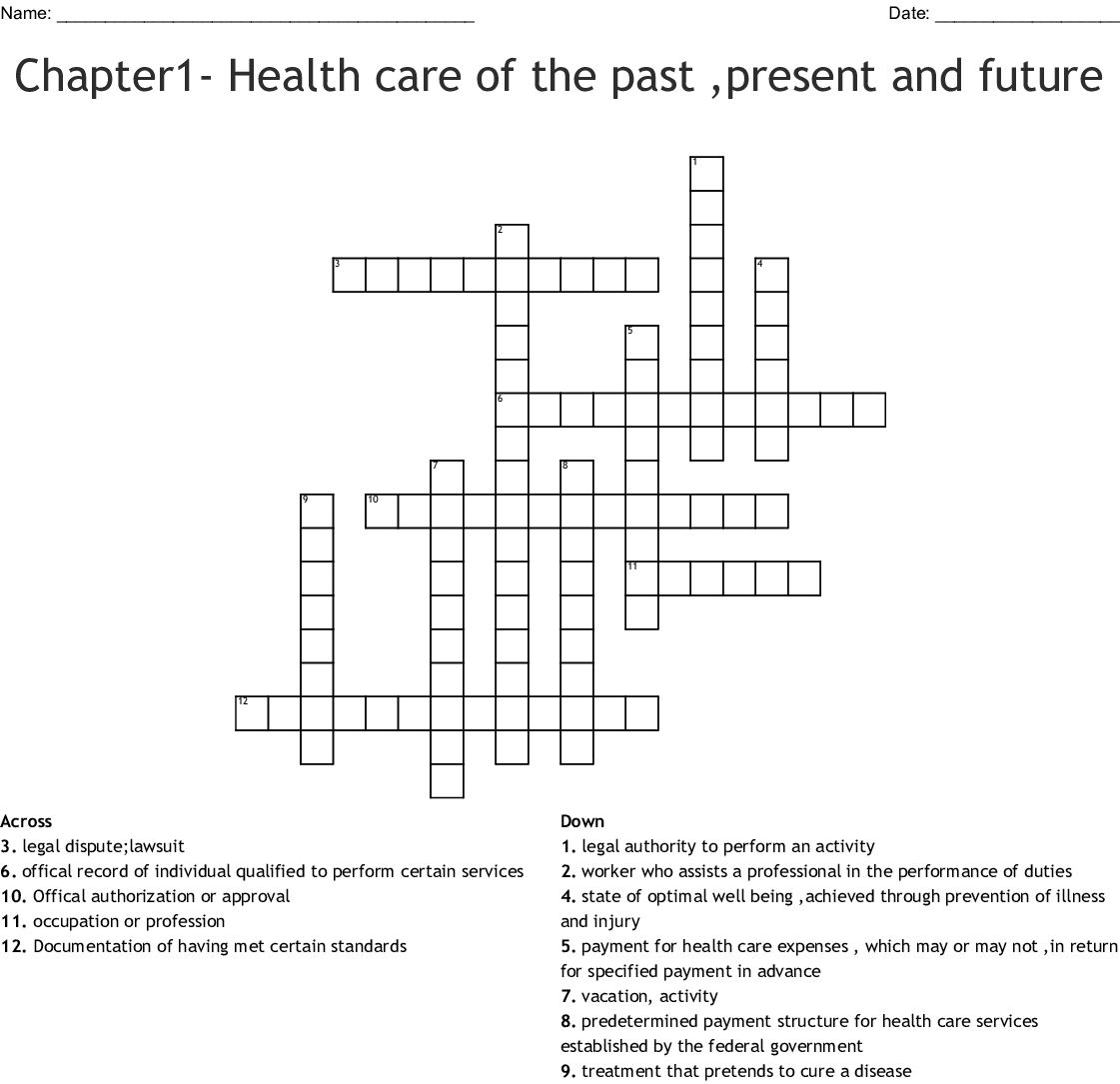 Chapter1 Health Care Of The Past Present And Future Crossword Wordmint