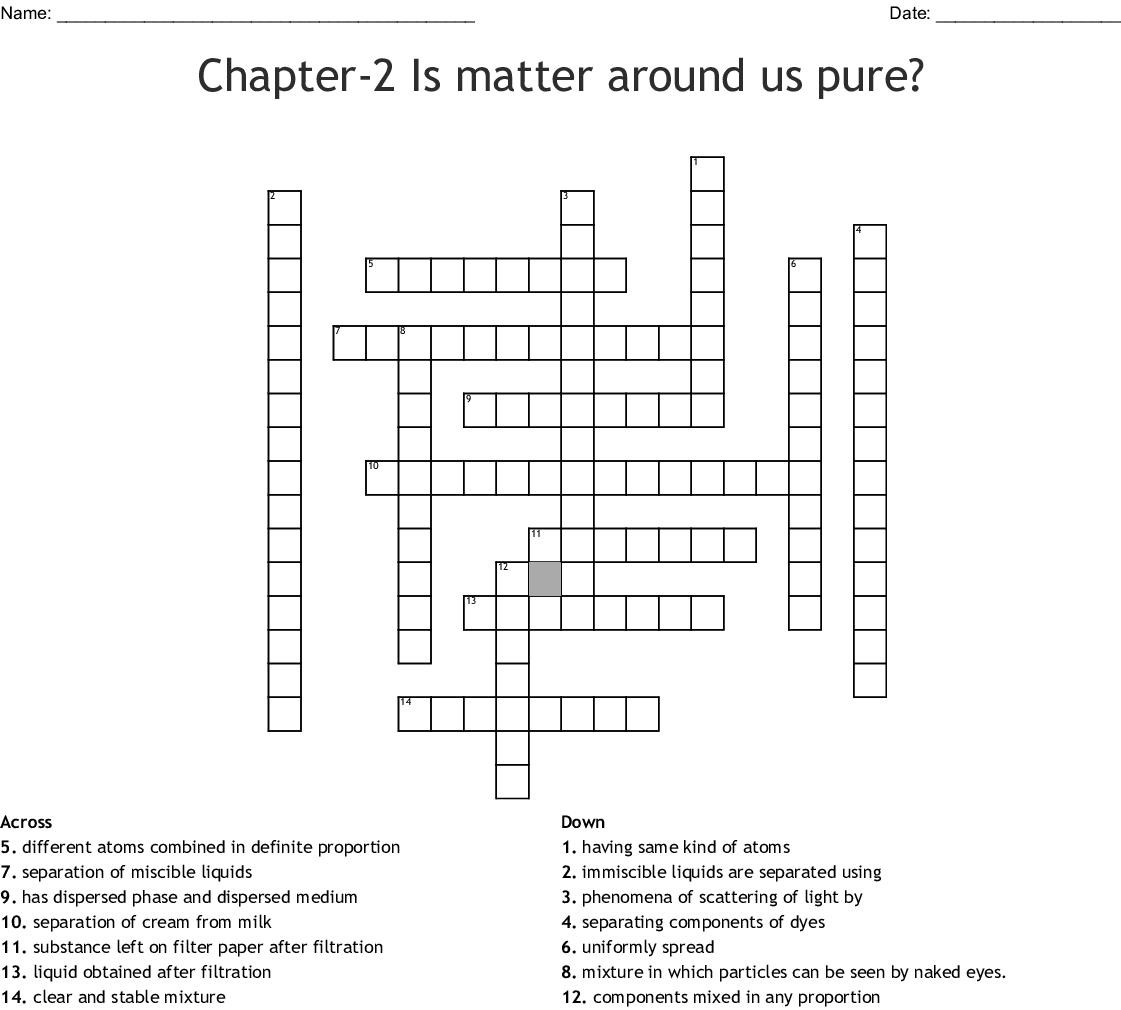 Separating Mixtures Crossword - WordMint