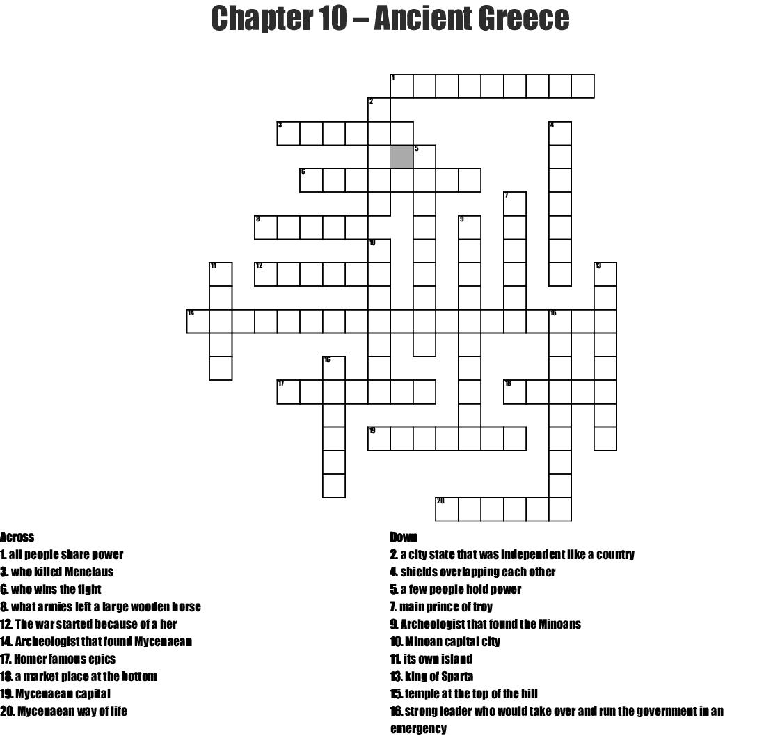 Chapter 10 – Ancient Greece Crossword - WordMint