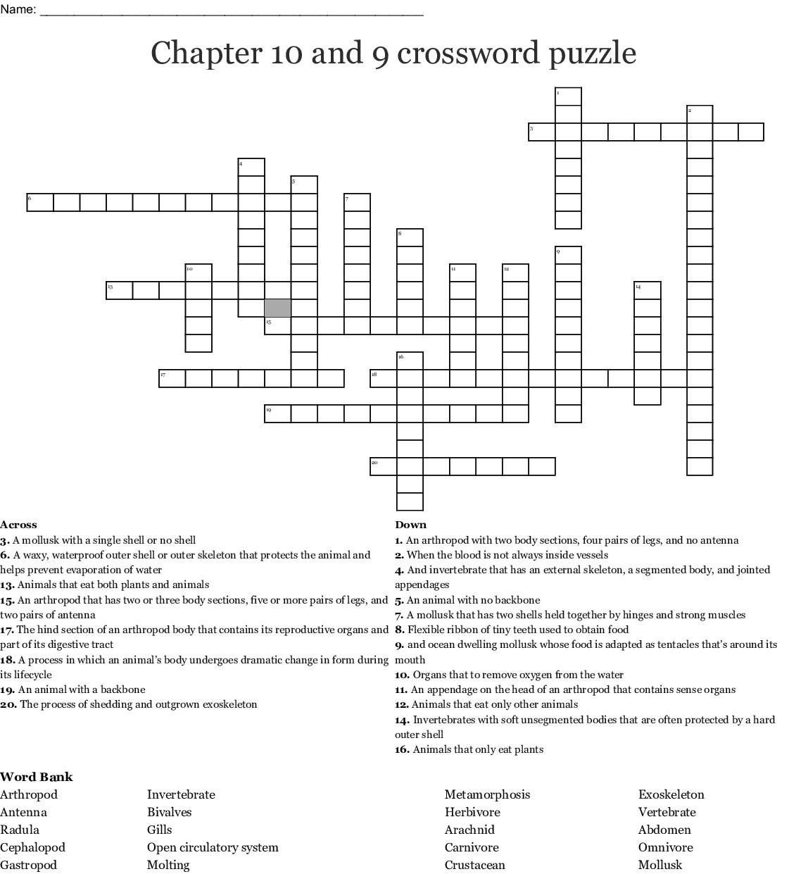 Chapter 10 and 9 crossword puzzle - WordMint