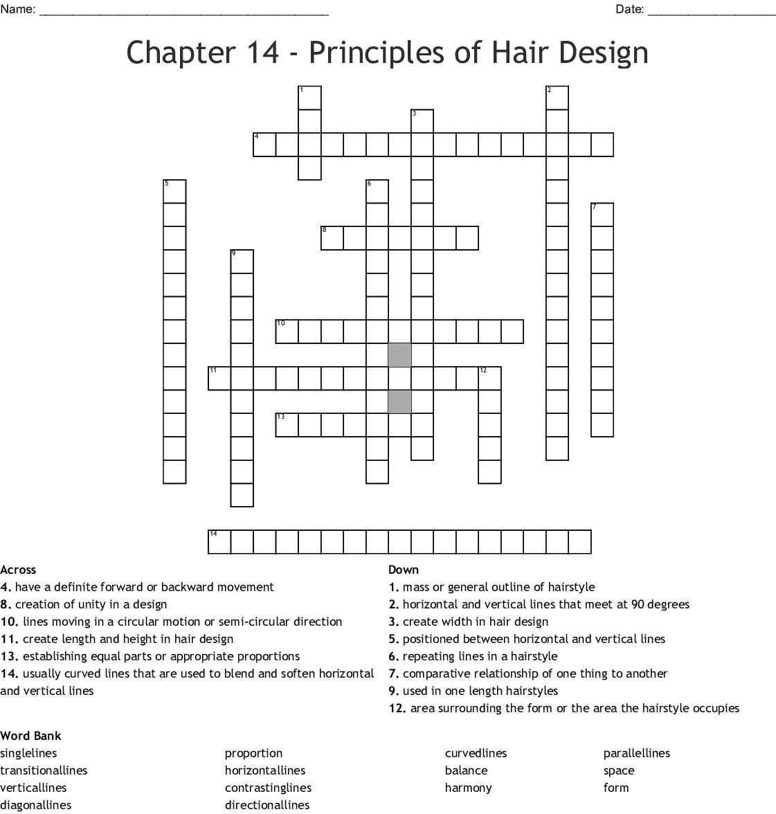 Chapter 5 - Principles of Hair Design Crossword - WordMint