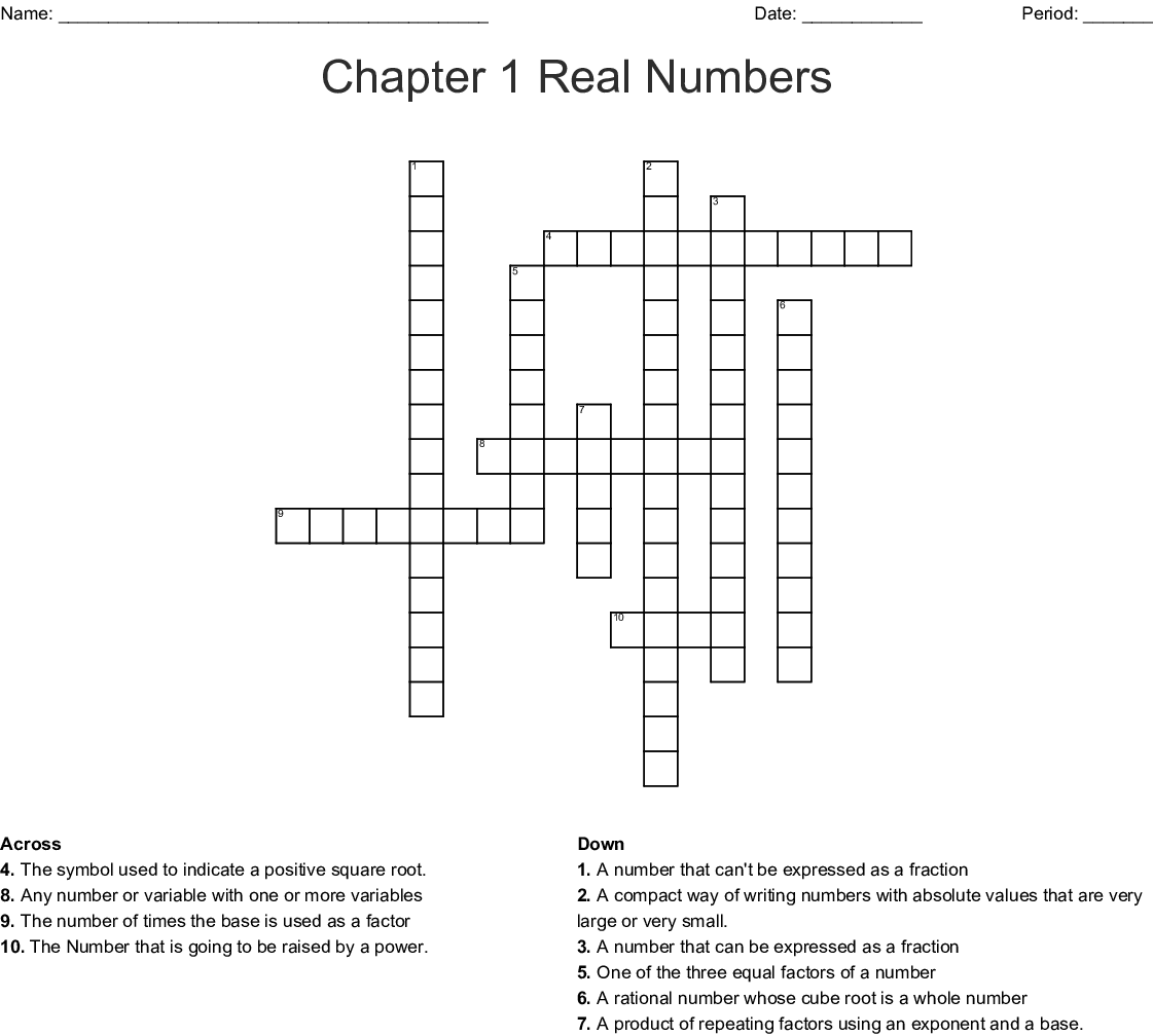Chapter 1 Real Numbers Crossword Wordmint
