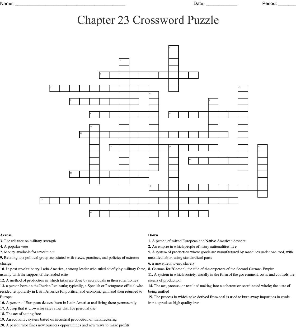 Industrial Revolution Vocabulary Crossword Wordmint