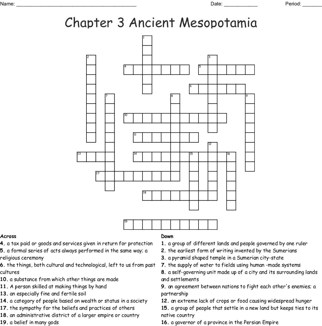 Chapter 3 Ancient Mesopotamia Crossword Wordmint