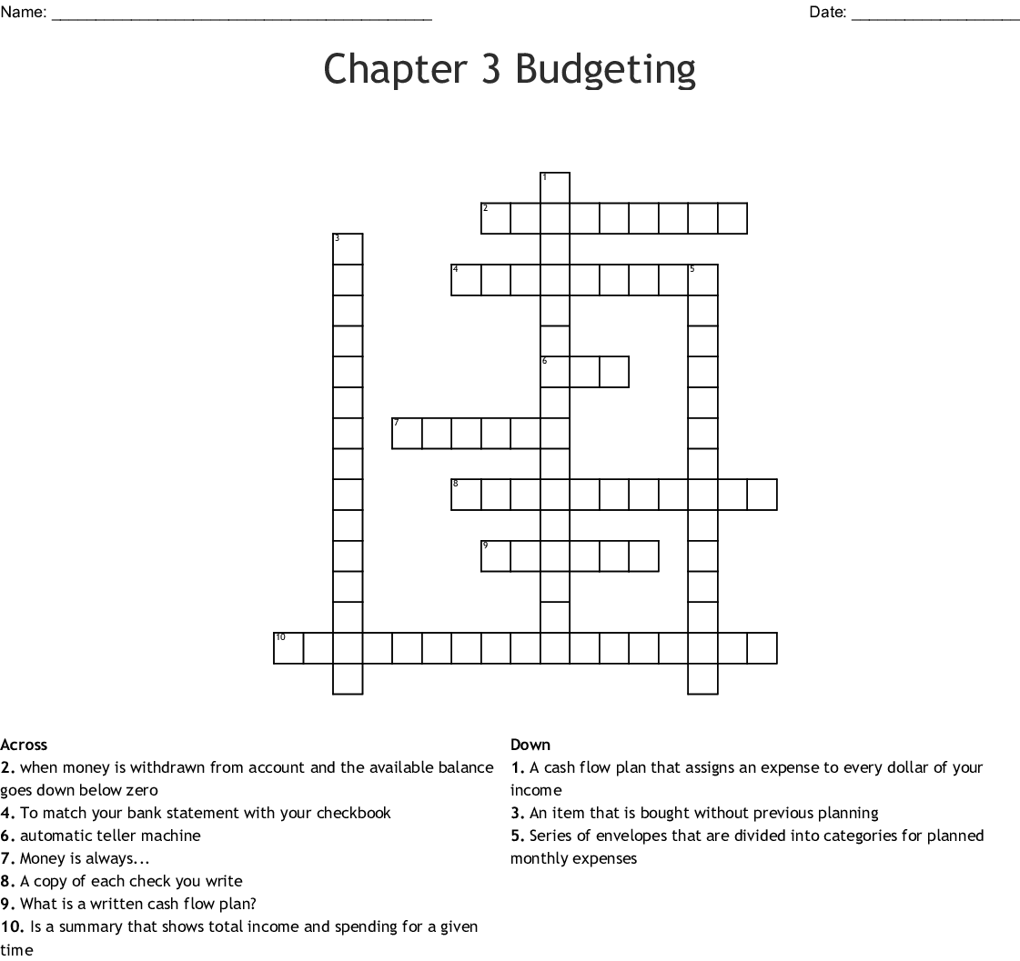 Budgeting Word Find Word Search Wordmint