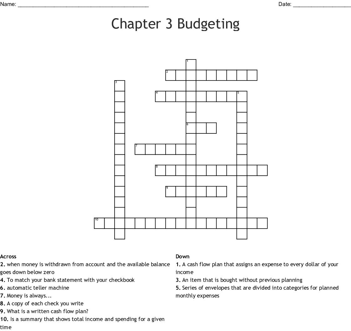 Sources Of Finance Crossword Wordmint