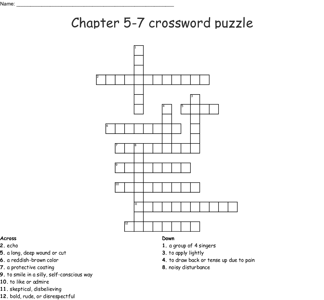 Chapter 5 7 Crossword Puzzle Wordmint