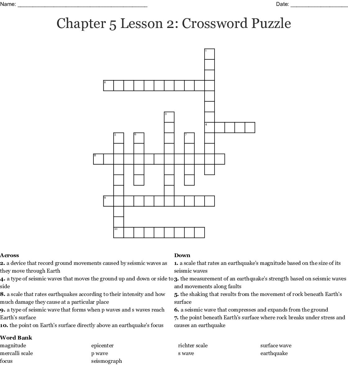 Chapter 5 Lesson 2 Crossword Puzzle Wordmint