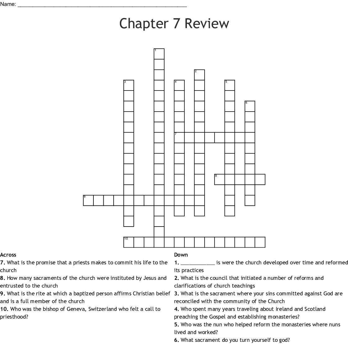 Saint Teresa of Avila Crossword - WordMint