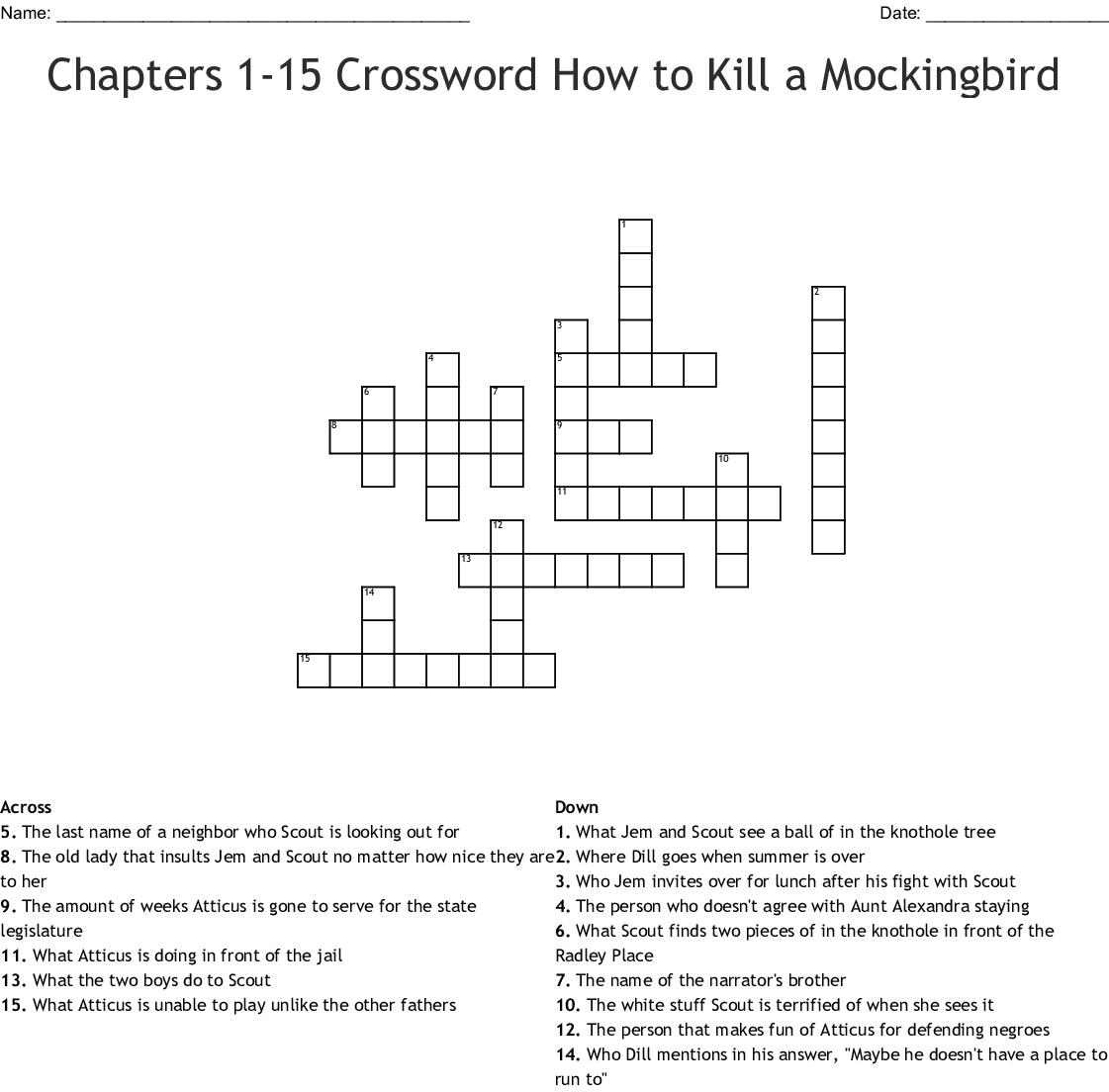 Chapters 1 15 Crossword How To Kill A Mockingbird Crossword Wordmint