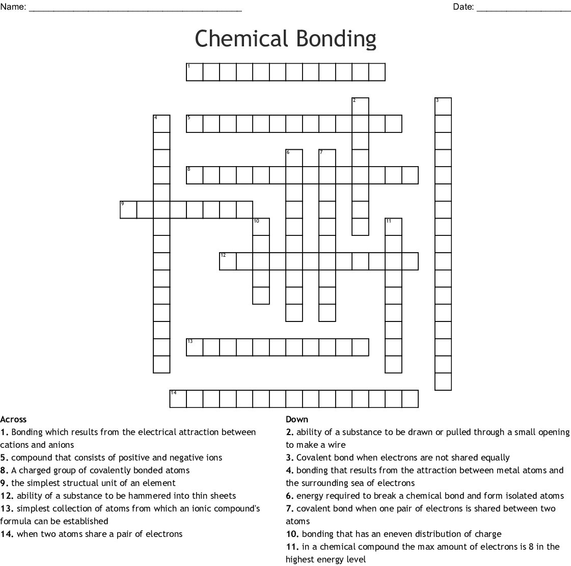 Ionic Bonding Crossword Wordmint