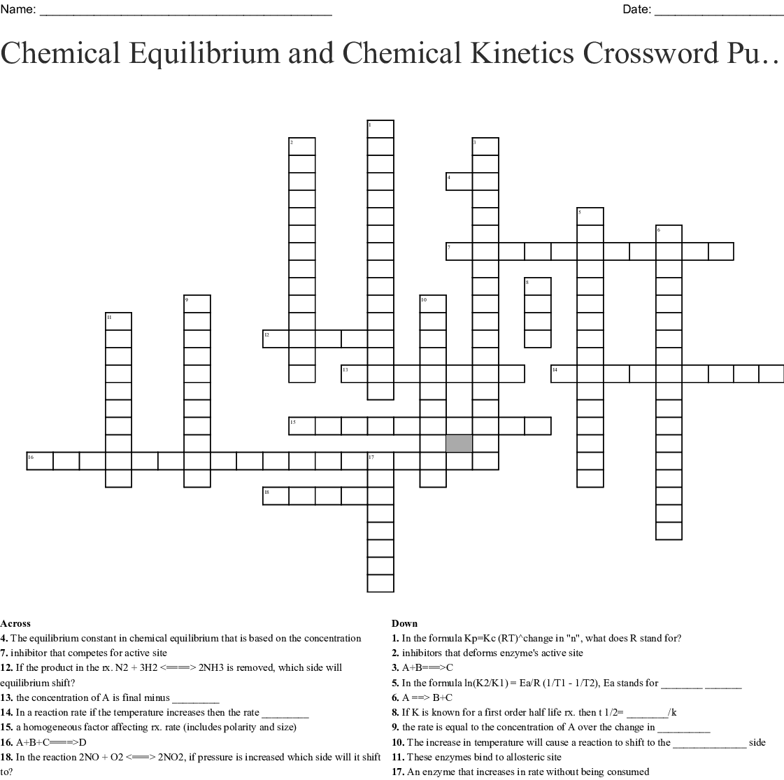 Chemical Equilibrium and Chemical Kinetics Crossword Puzzle