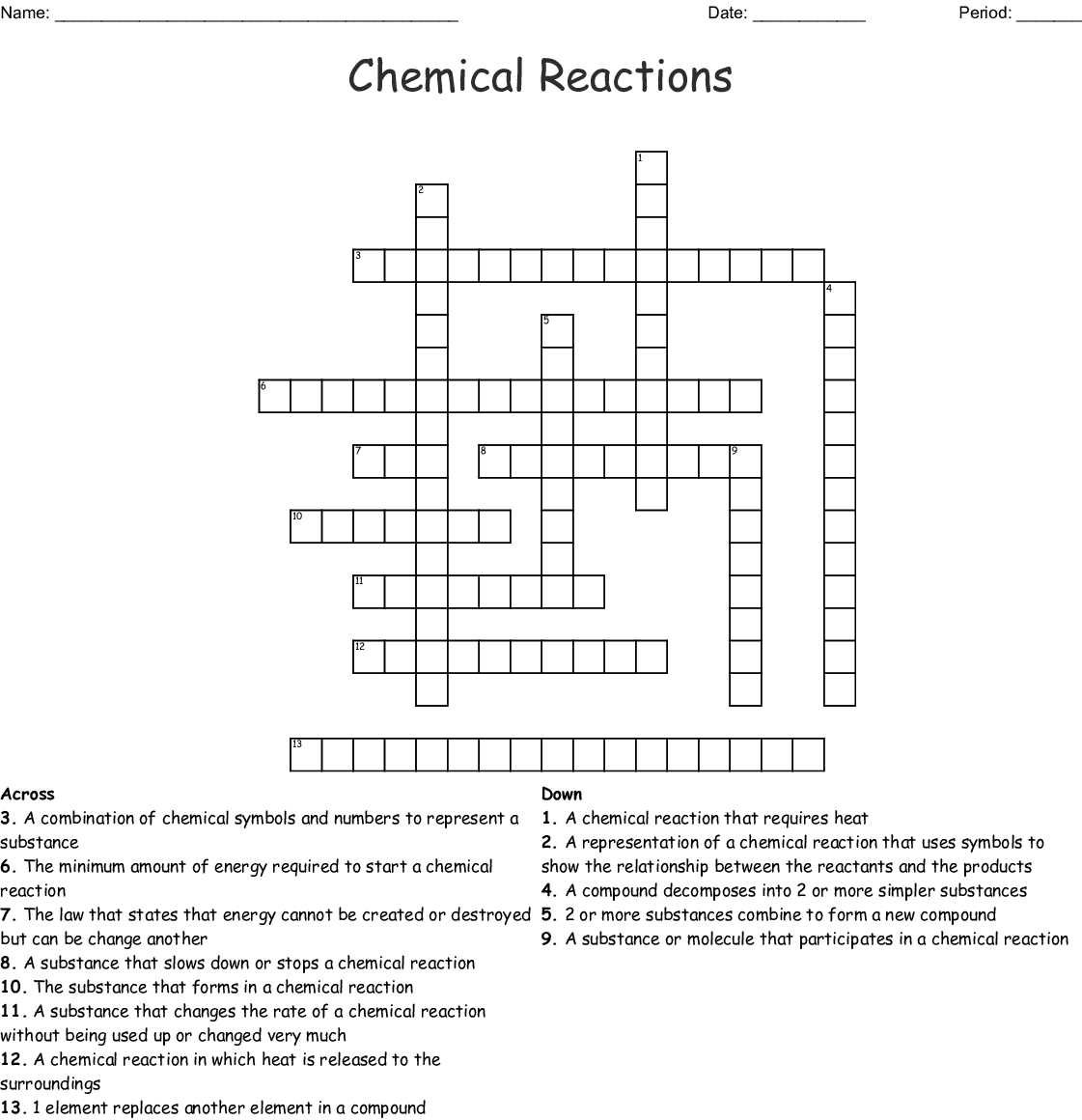 Chemical Reaction Word Search - WordMint