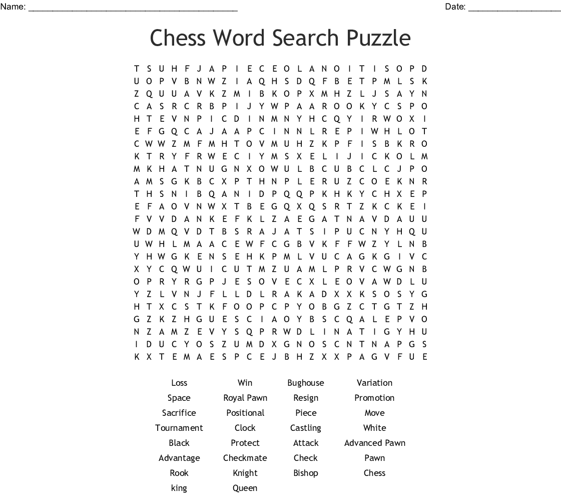 photo regarding Printable Chess Puzzles known as chess Phrase Appear - WordMint