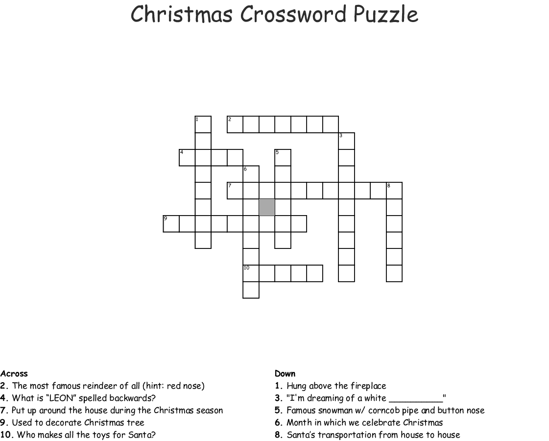 Christmas Crossword Puzzle.Christmas Crossword Puzzle Wordmint