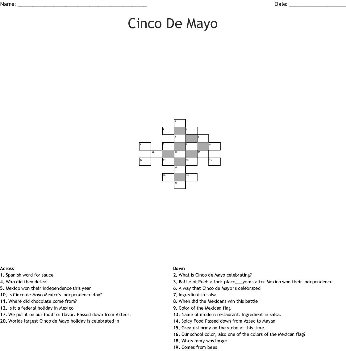 Cinco De Mayo Crossword - WordMint