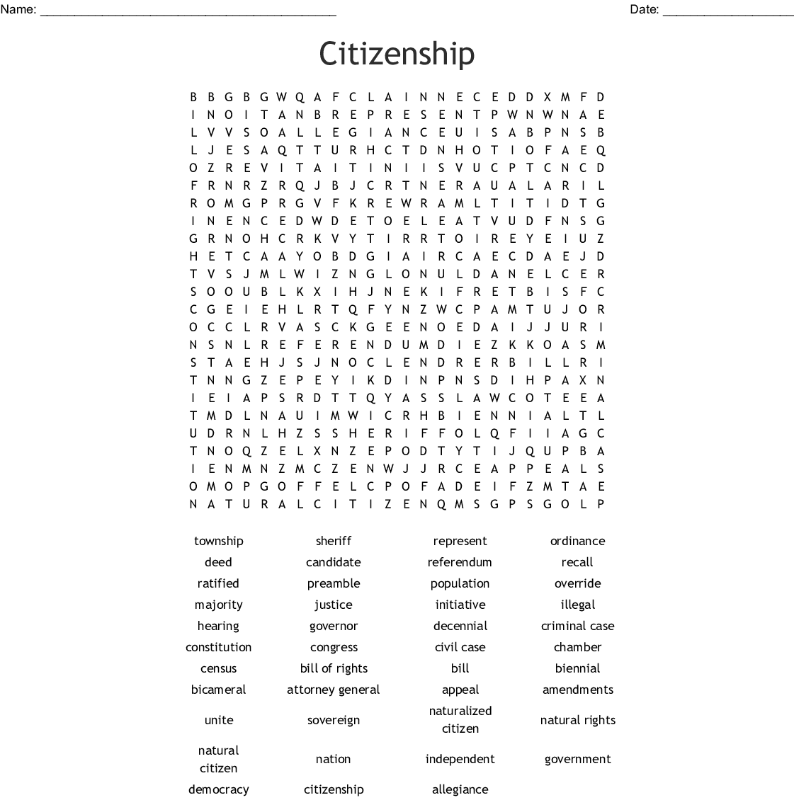 picture relating to Printable Citizenship Test named Citizenship Phrase Glimpse - WordMint