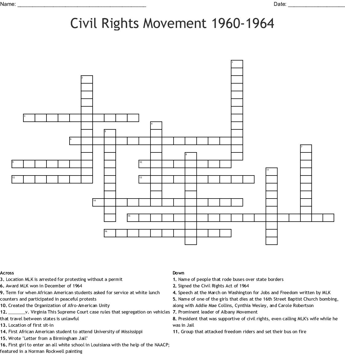 I Have A Dream Crossword Wordmint