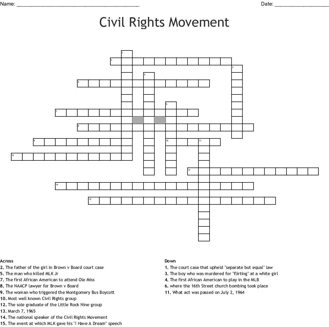 Civil Rights Movement Crossword - WordMint