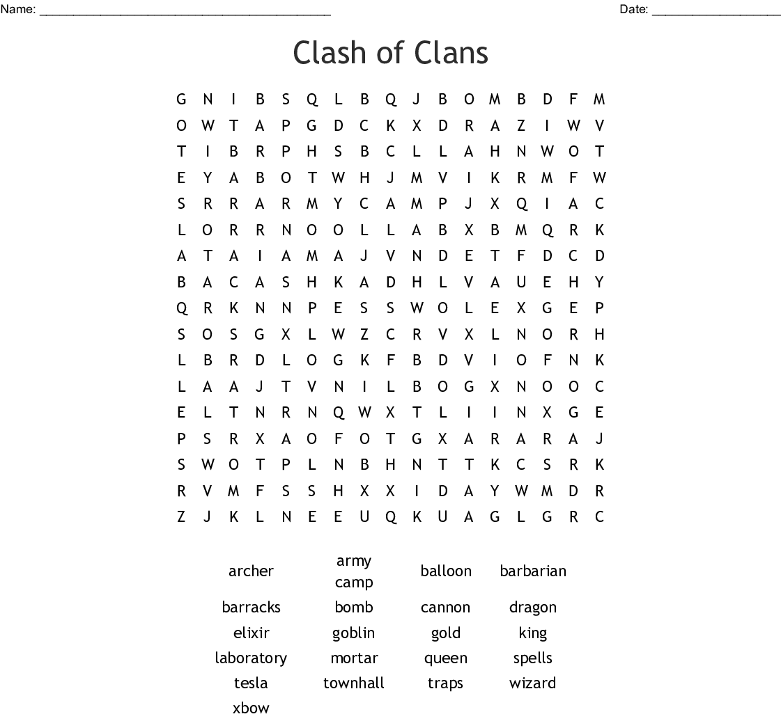 clash of clans Word Search - WordMint