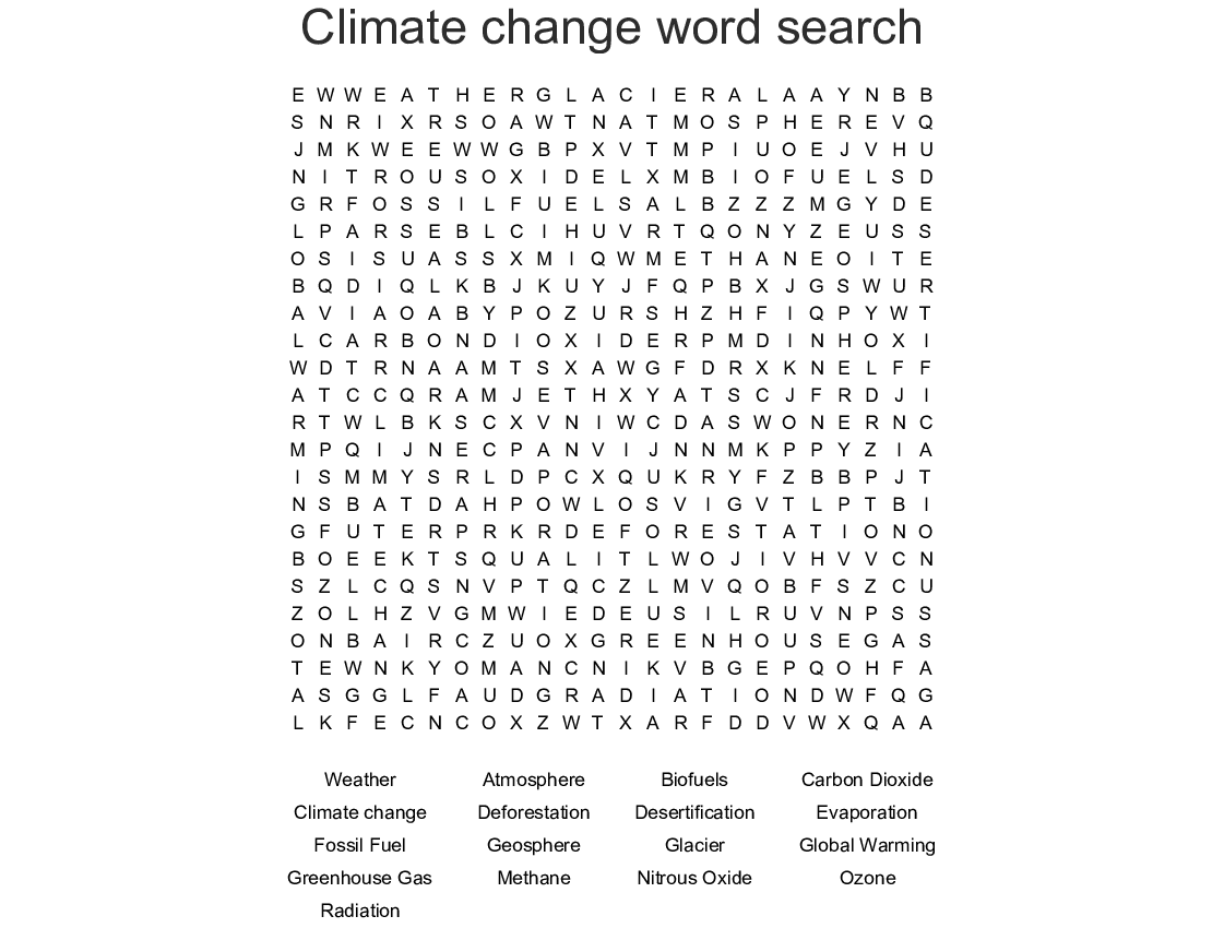 Climate Change Word Search
