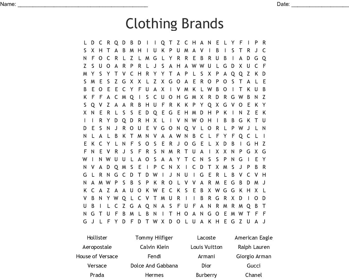 Expensive Brands Crossword Wordmint