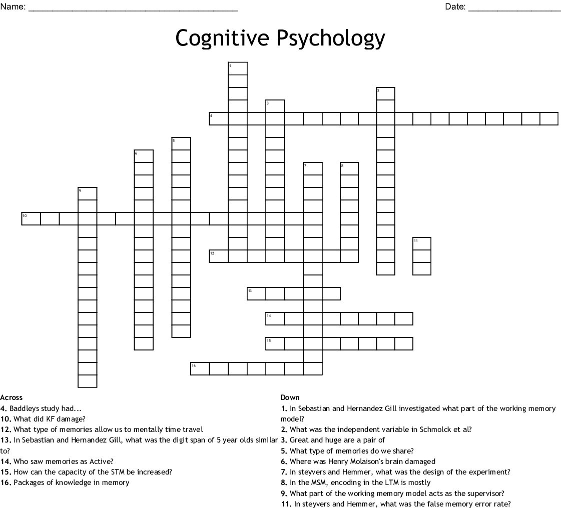 Cognitive Psychology Crossword   WordMint