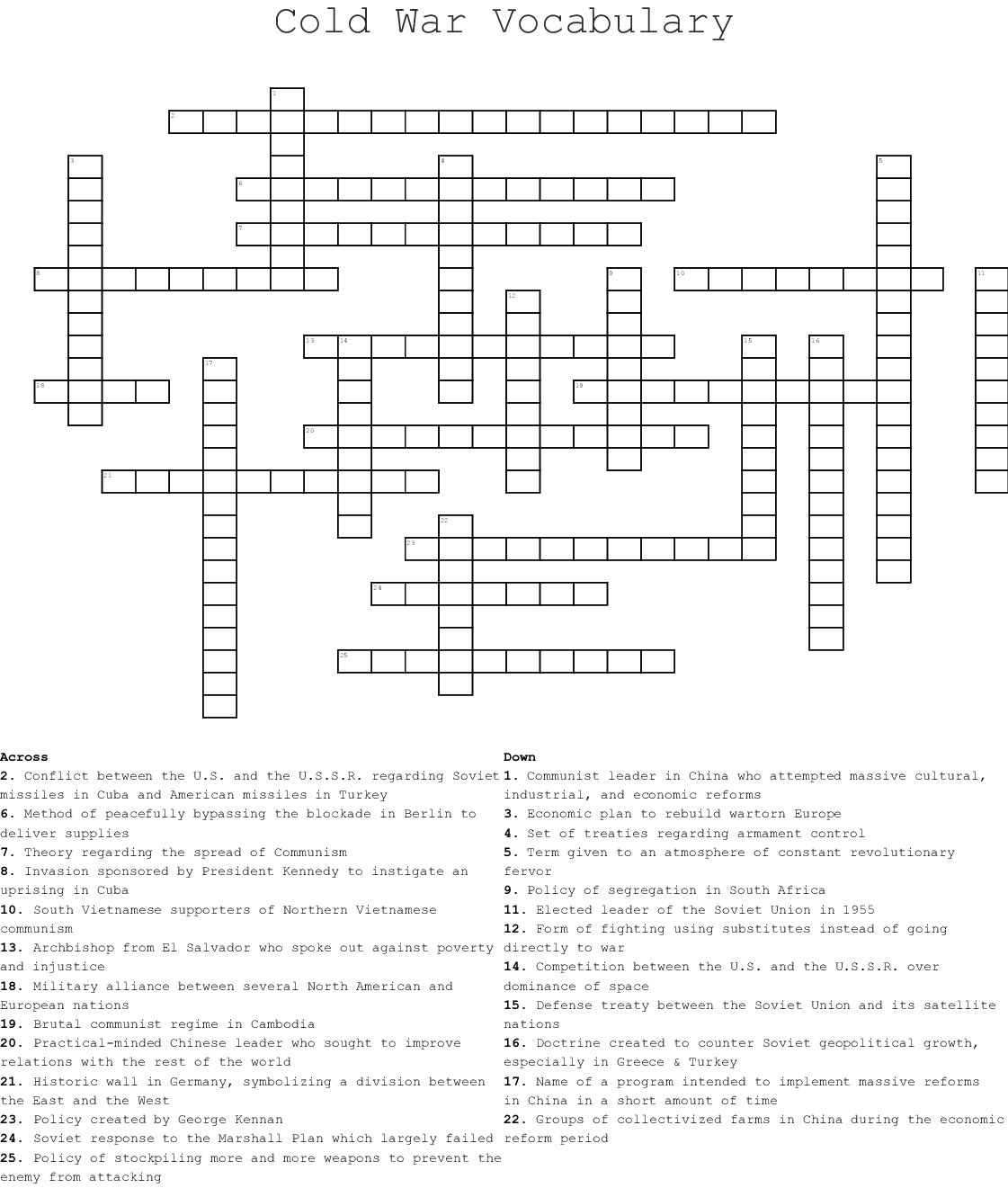 Cold War Vocabulary Crossword - WordMint