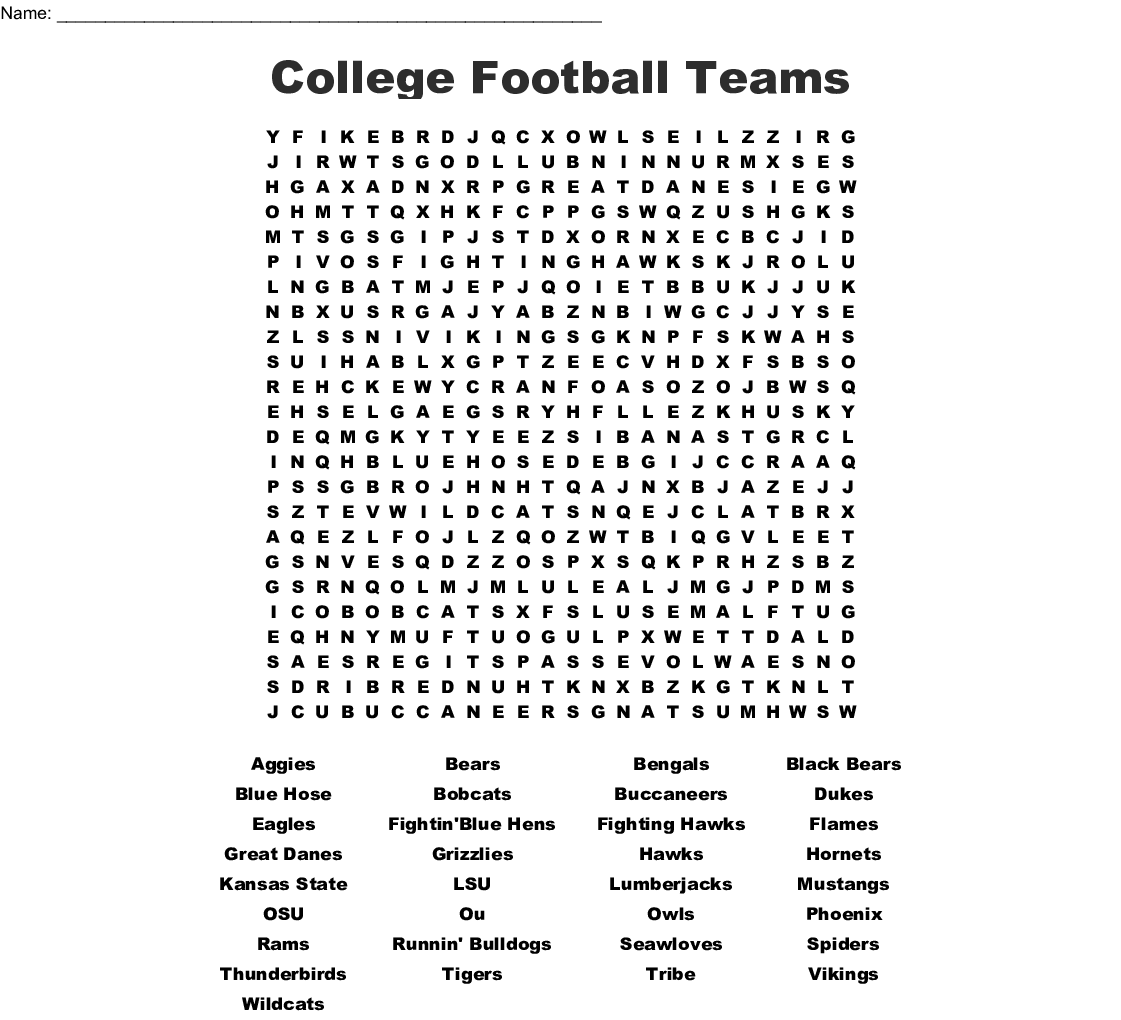College Football Teams Word Search - WordMint