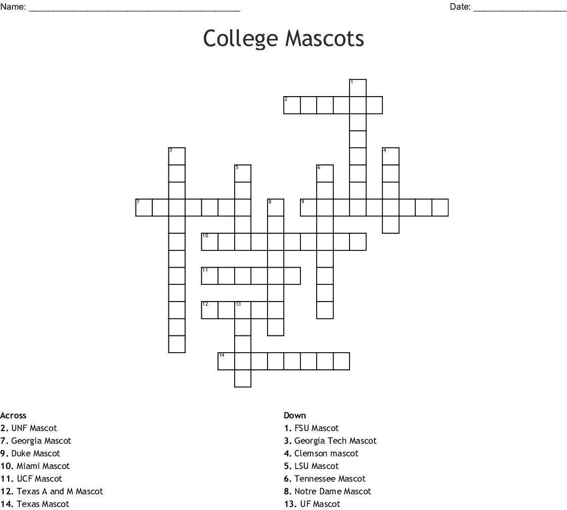 College Mascots Crossword - WordMint