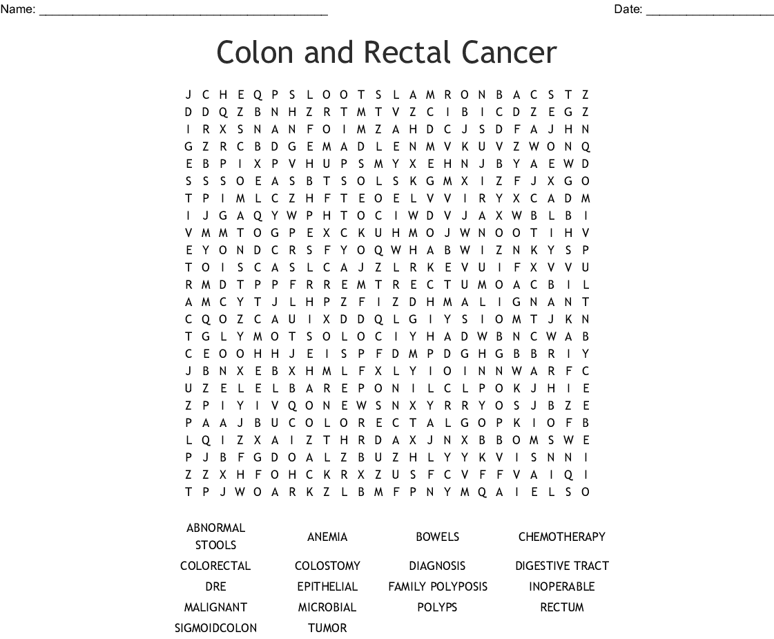 Colon And Rectal Cancer Word Search Wordmint