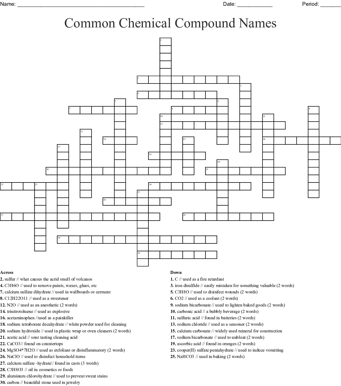 Chemical Compound Common Name Crossword - WordMint