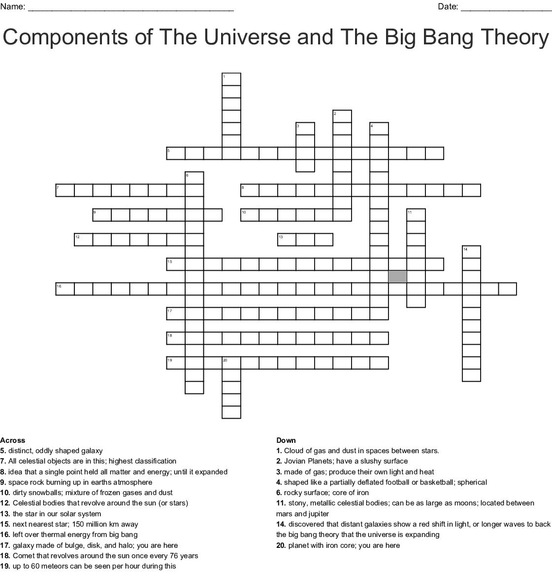 big bang theory word search