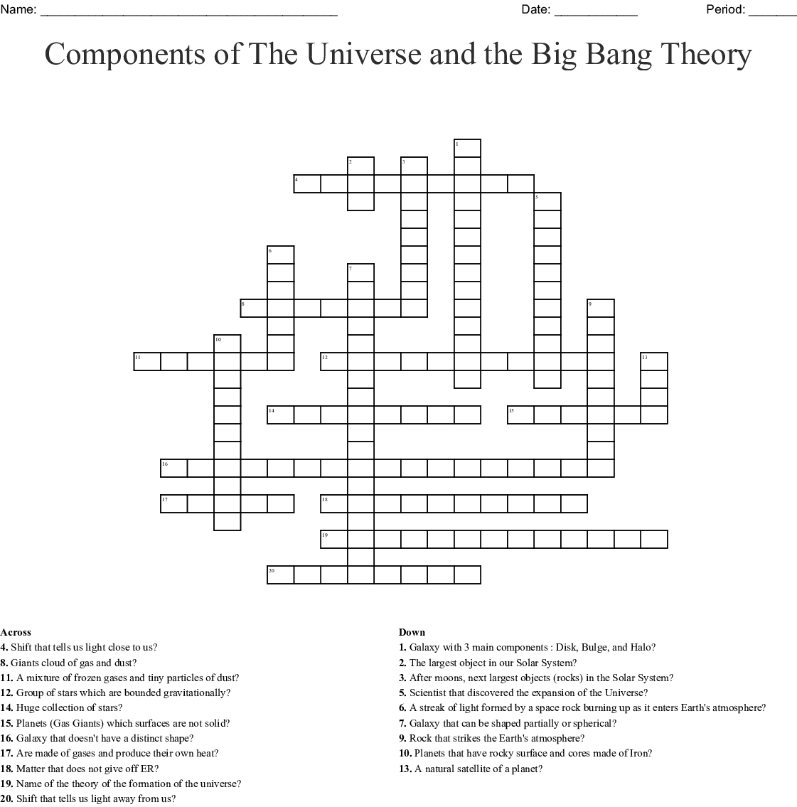 Components Of The Universe And The Big Bang Theory Crossword Wordmint