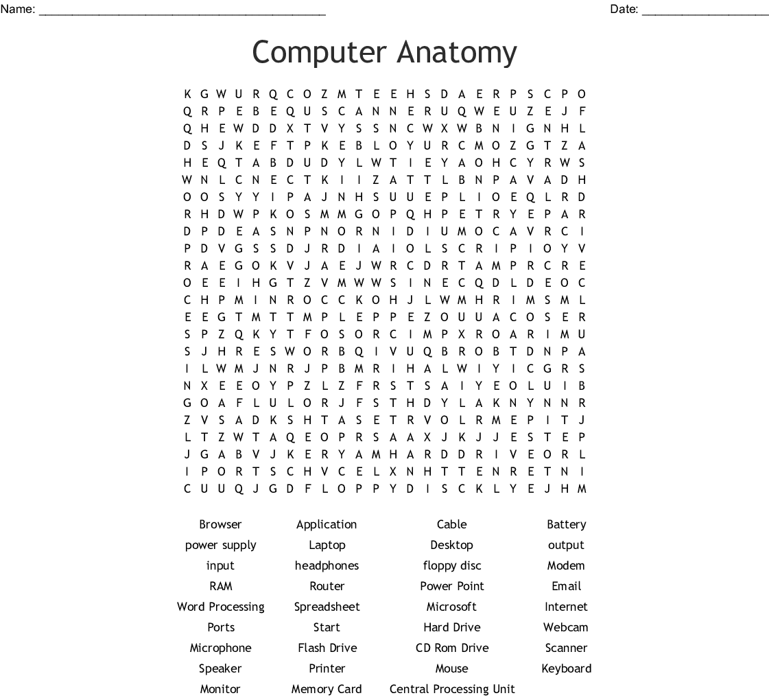 Name All Computer Parts Word Search - WordMint