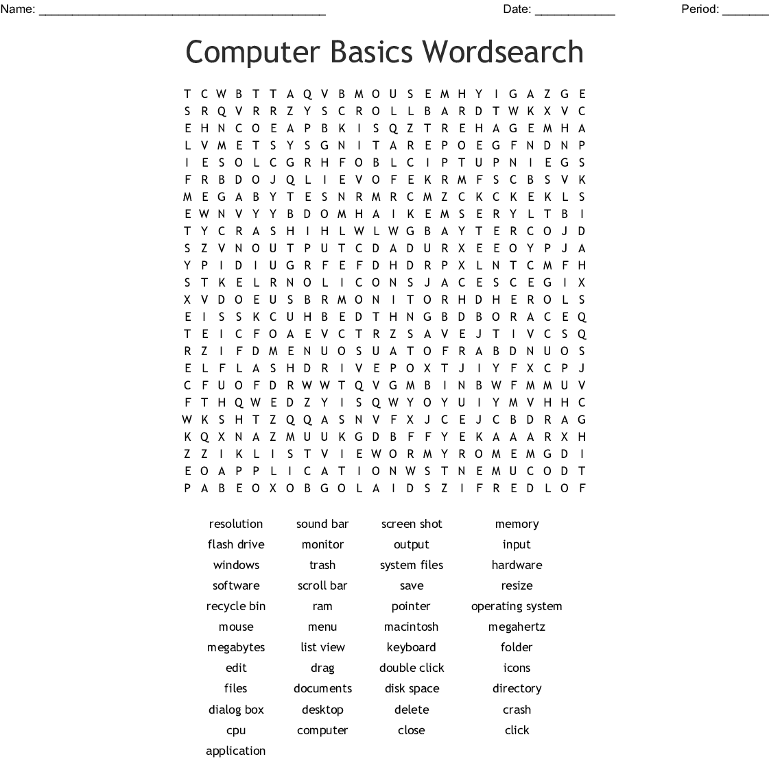 Computer Terms Word Searches: Computer Basics Wordsearch