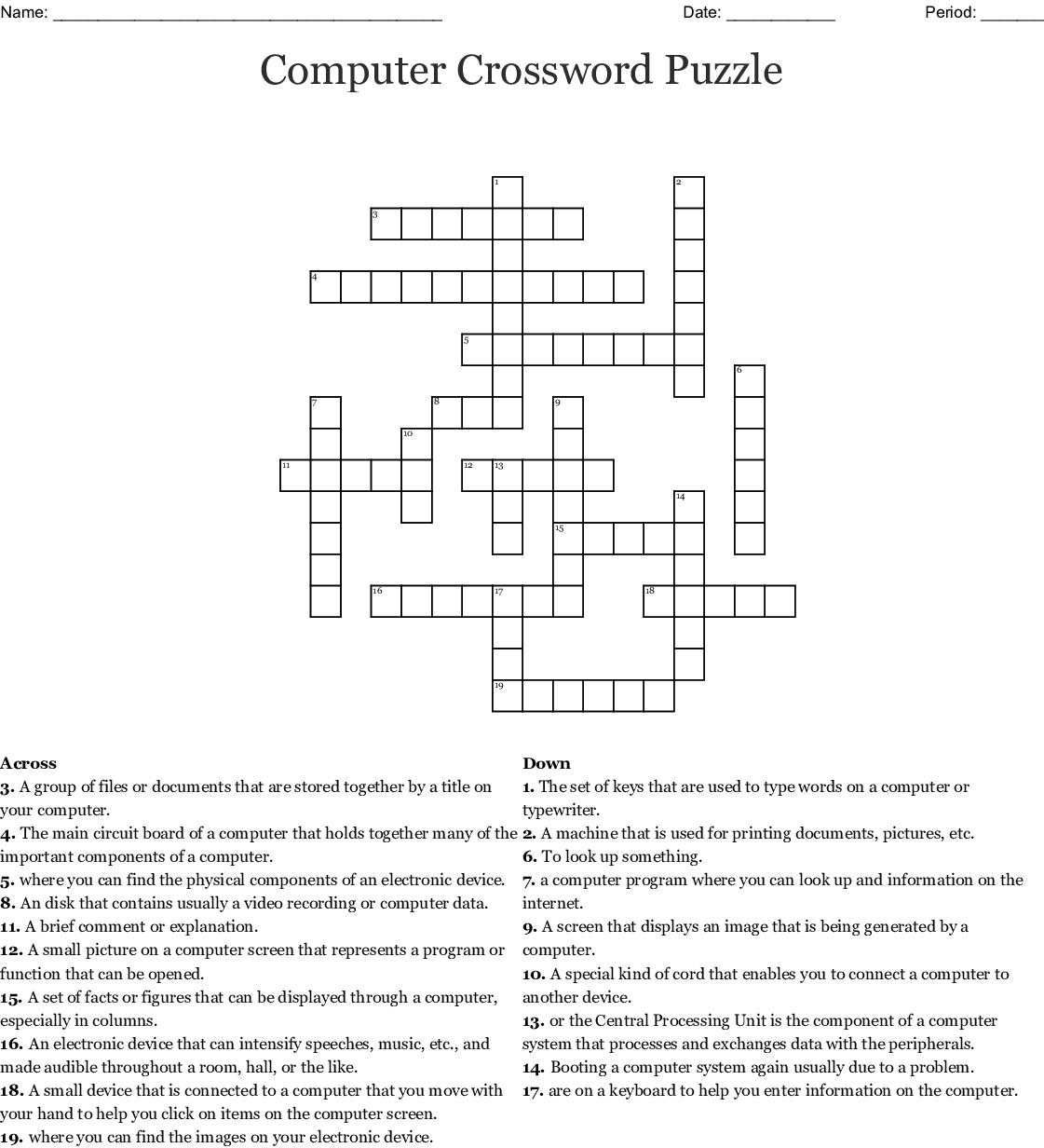 Computer Crossword Puzzle Wordmint