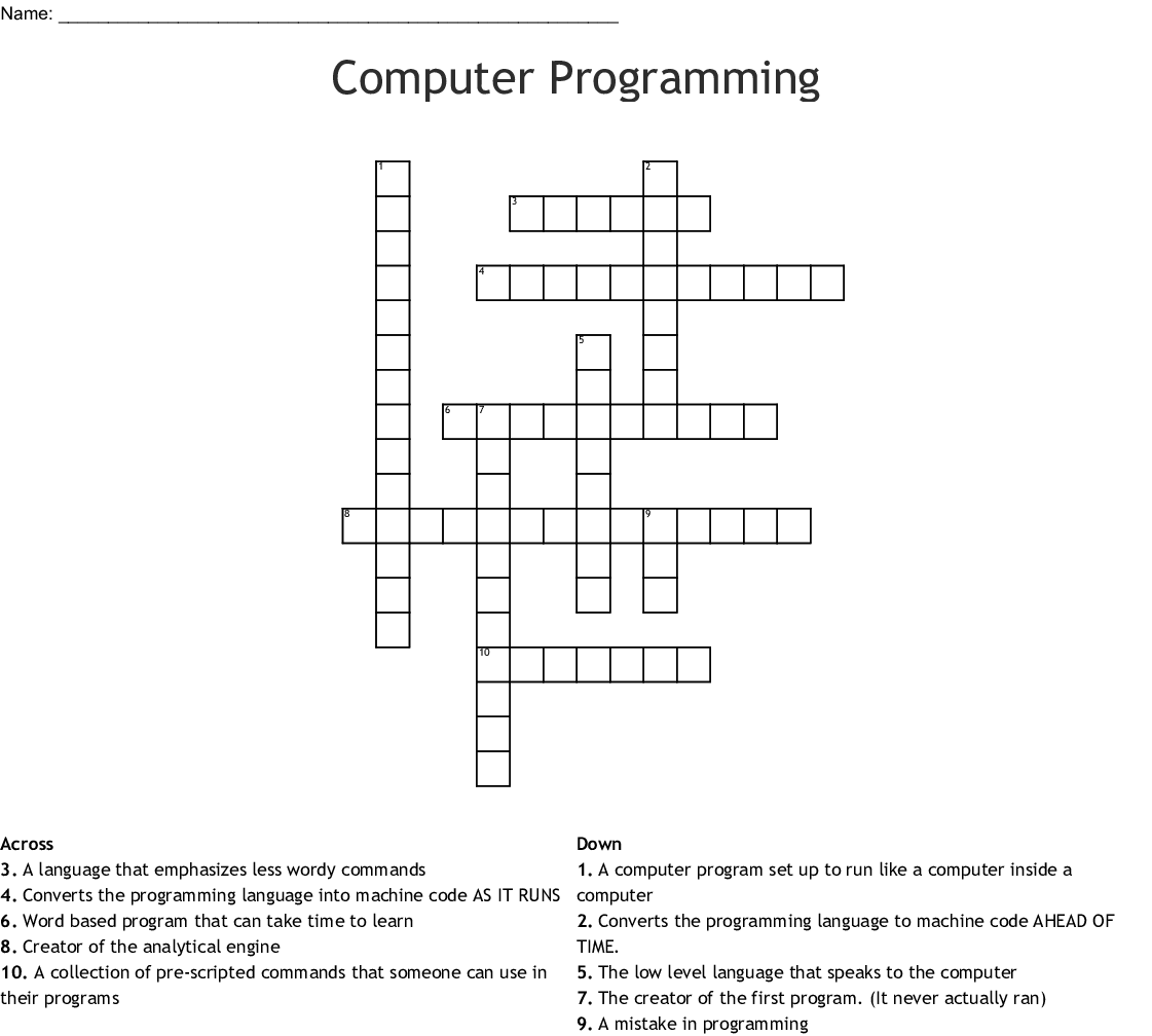 Crossword Puzzle on Object-Oriented Programming