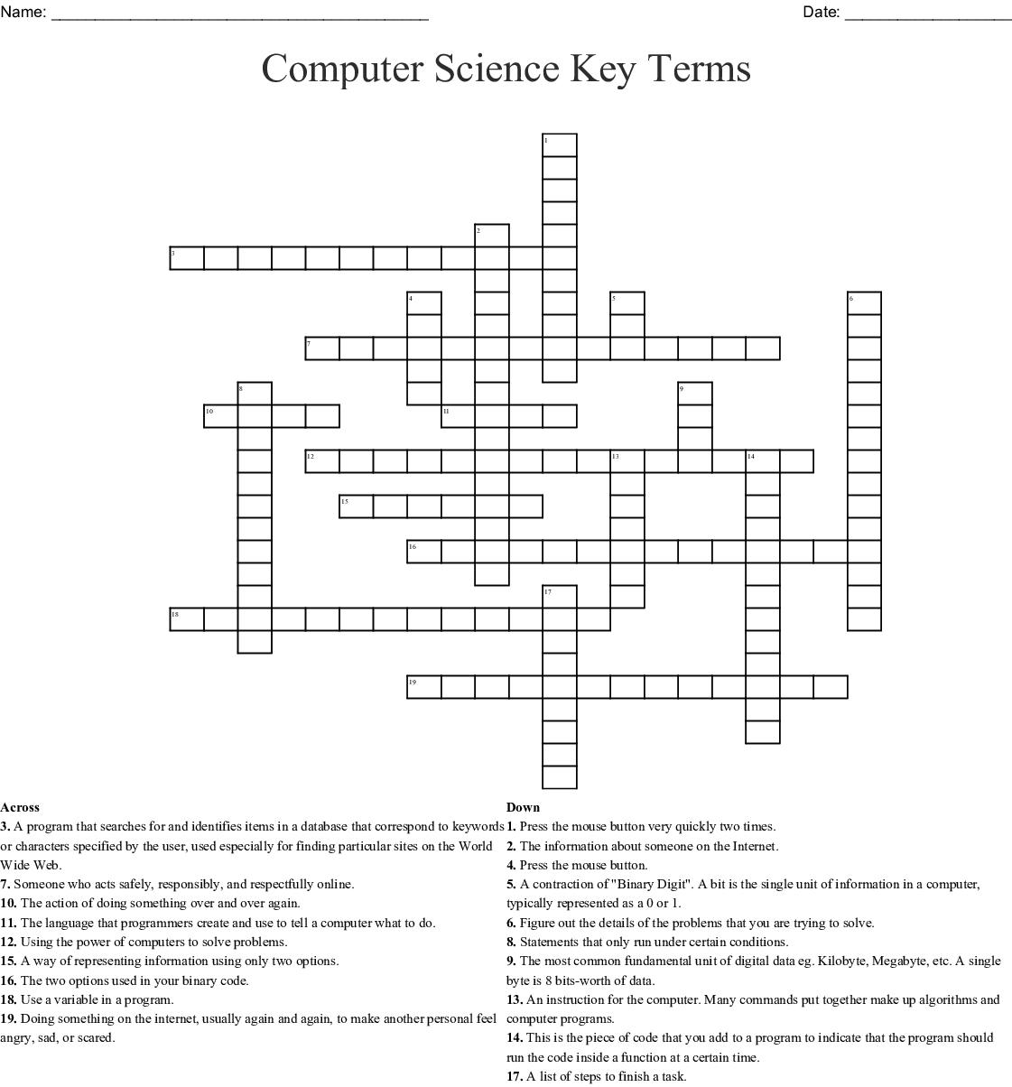 Computer Science Crosswords, Word Searches, Bingo Cards ...